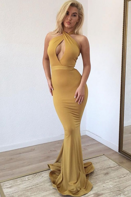 Ginger Keyhole Mermaid Long Prom Dresses | Hot Sexy Party Gown