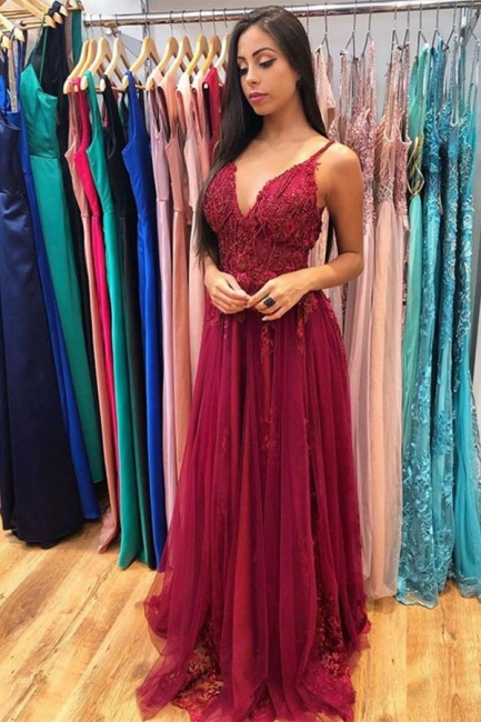 Spaghetti Straps  V-neck Tulle Lace Prom Dresses | Burgundy Long Evening Dresses
