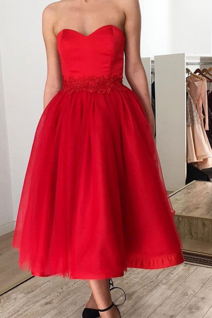 Red Strapless Sweetheart Tulle Tea Length Midi Prom Dresses