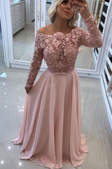 Sexy Off-The-Shoulder Prom Dresses | Chiffon Sparkling Pink Evening Gown