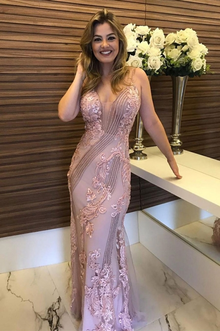 Sleeveless Beaded Appliques Dusty Pink Fitted Prom Dresses | Long Evening Dresses