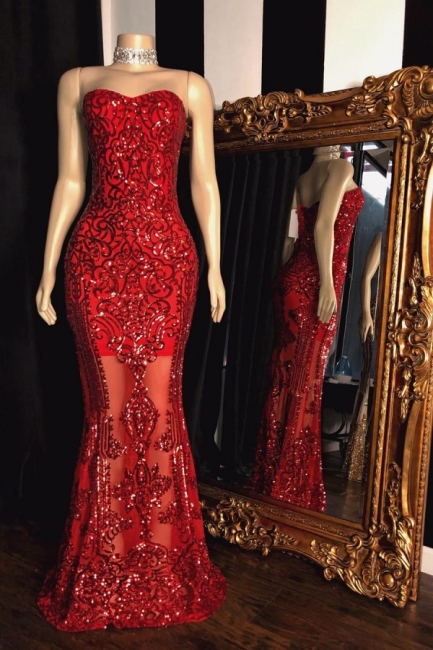 Glittering Strapless Sweetheart Sequins Beaded Red Prom Dresses