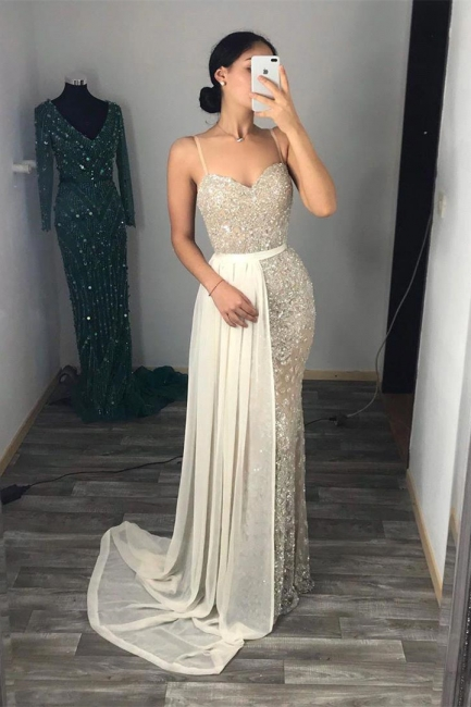 Sweetheart Fitted Spaghetti Straps Prom Dresses with Detachable Train
