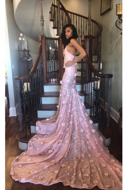 High Neck Sleeveless Mermaid Pink Prom Dresses with Handmade Flower