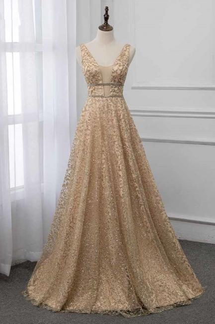 Sleeveless V-neck A-line Floor Length Stunning Prom Dresses