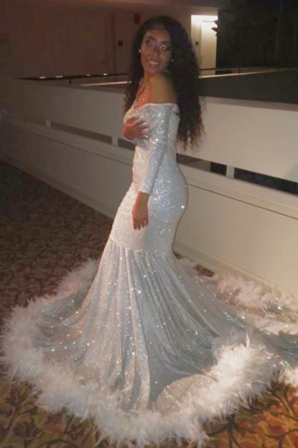 Off the Shoulder Long Sleeves Silver Mermaid Prom Dresses with Fur