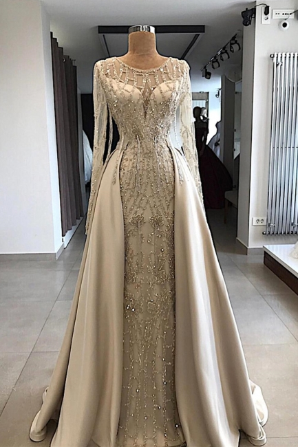 Luxury Jewel Beaded Prom Gowns with Long Sleeves