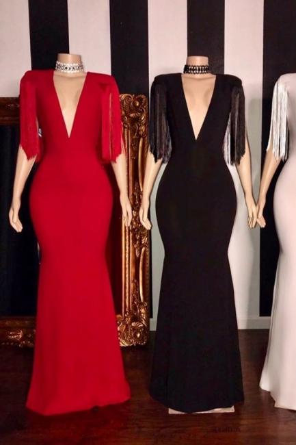 Gorgeous Deep V-neck Column Prom Dresses with Fringes on Sleeves