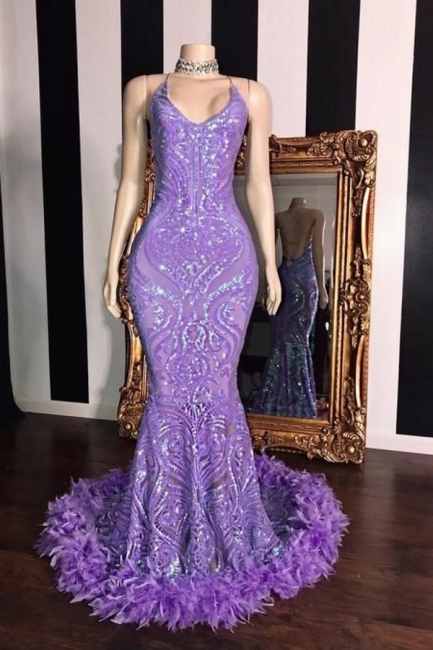 Purple Spaghetti Straps Sequin Fit and Flare Prom Dress with Fur