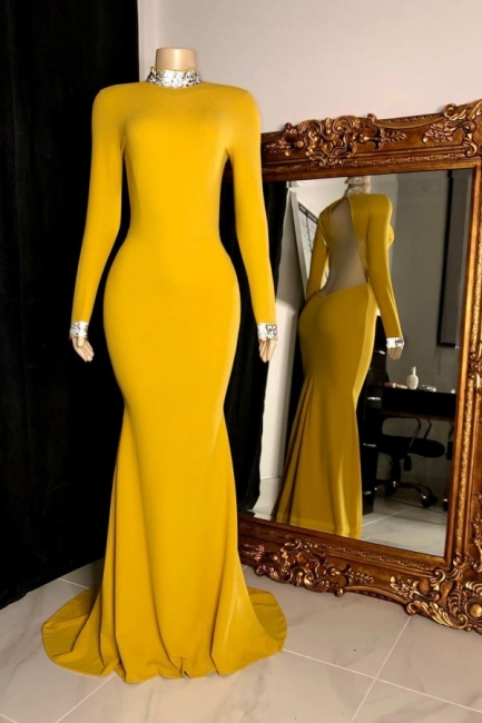 High Neck Long Sleeves Open Back Fitted Prom Dresses in Yellow