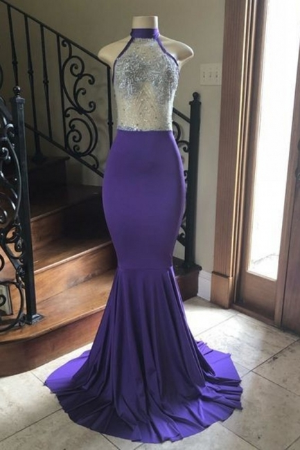 High Neck Sheer Top Mermaid Floor Length Prom Dresses | Long Evening Dresses