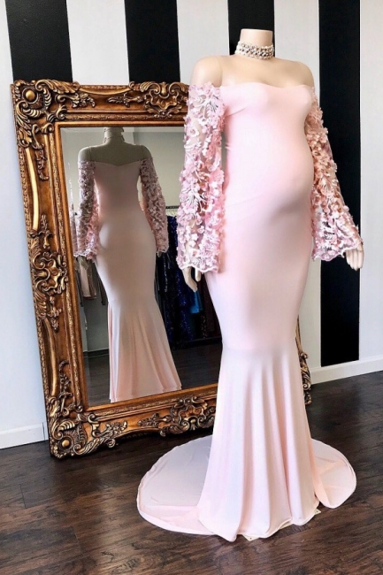Cute Off the Shoulder Long Sleeves Pink Maternity Dresses