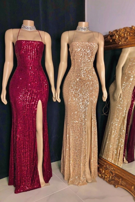 Sexy Spaghetti Straps Sequins Column Prom Dresses with Criss-cross Straps Back Details