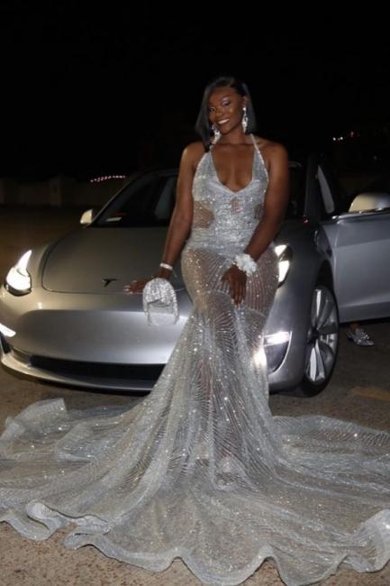 Spaghetti Straps V-neck Sheer Sexy Mermaid Prom Dresses