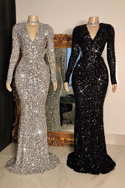 Sparkly V-neck Sheath Floor Length Prom Dresses with Long Sleeves