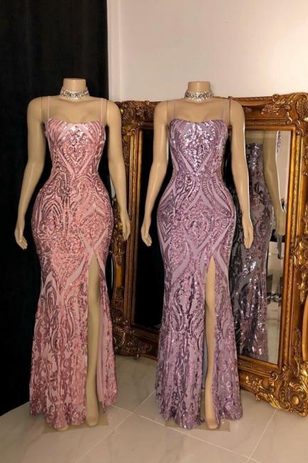 Spaghetti Straps Form-fitting Sequin Side Slit Prom Dresses