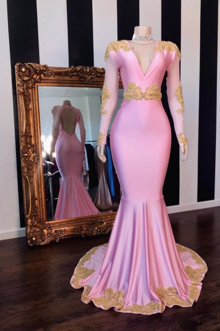 V-neck Long Sleeves Fit and Flare Pink Prom Dresses with Appliques
