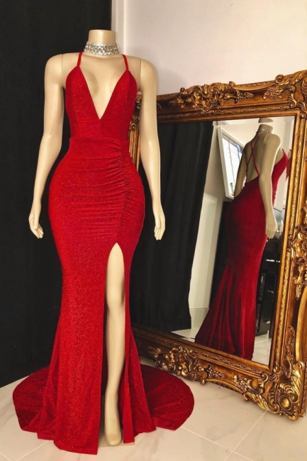 Spaghetti Straps Floor Length Red  Prom Dresses with High Slit