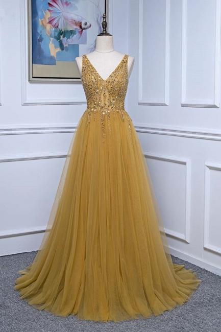 Straps V-neck Floor Length Beading A-line Simple Prom Dresses