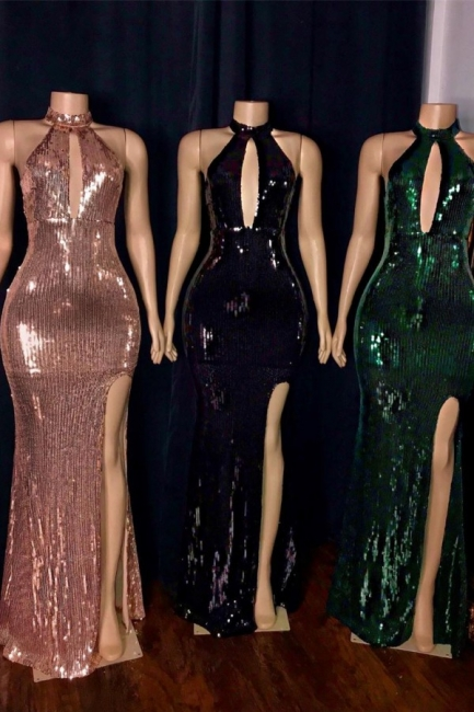 High Neck Heyhole Floor Length Column Sequined Prom Dresses with Slit