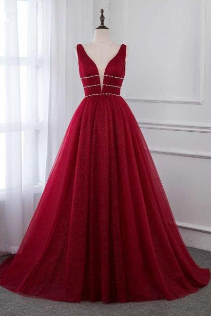 Straps Floor Length  V-neck  A-line Burgundy Tulle Prom Dresses