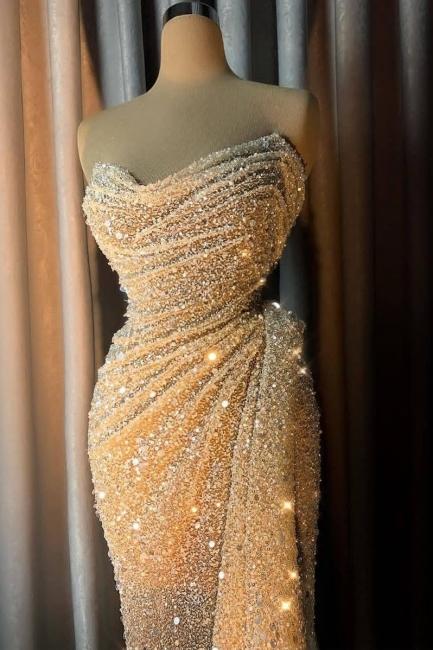 Stunning Off the Shoulder Sequin Form-fitting Prom Dresses