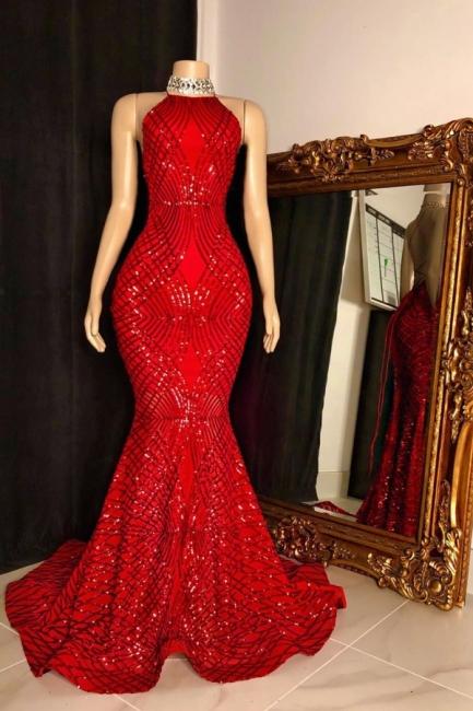 Halter Sleeveless Red Long Sequin Trumpet Prom Dresses