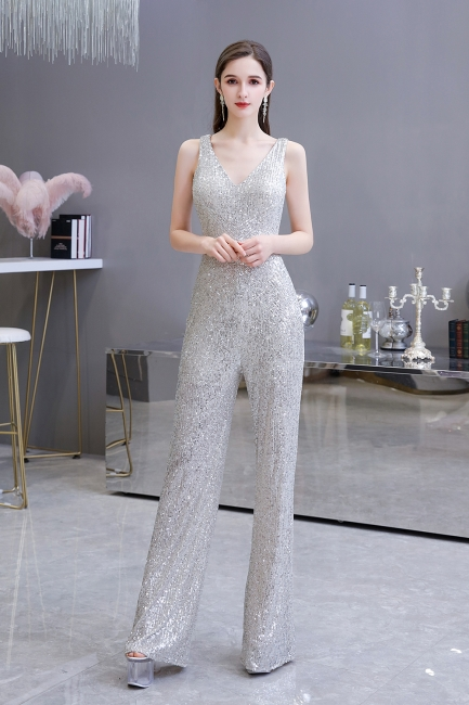 Women's Fashion V-neck Straps Sparkly Sequin Prom Jumpsuit