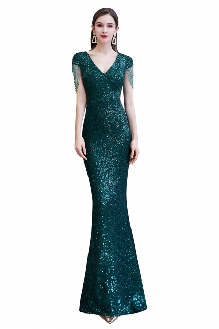 V-neck Cap Sleeves Floor Length Emerald Form-fitting Sequin Prom Dresses