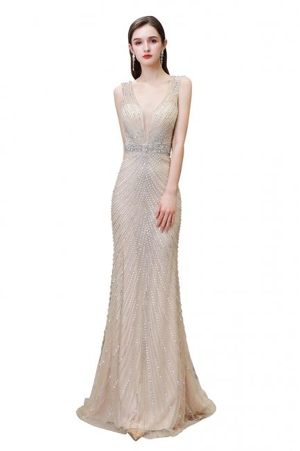 V-neck Cap Sleeves Floor Length Crystal Belt Sheath Prom Dresses