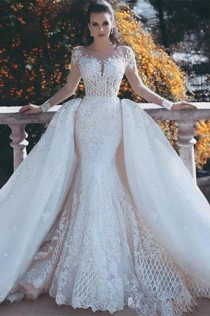Vintage Long Lace Overskirts Mermaid Wedding Dresses
