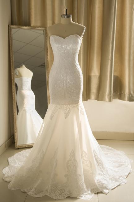 Strapless Sweetheart White Mermaid Prom Dresses