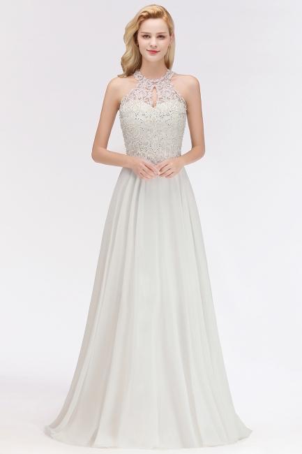 Jewel Sleeveless Lace Chiffon Cheap Long Party Dresses