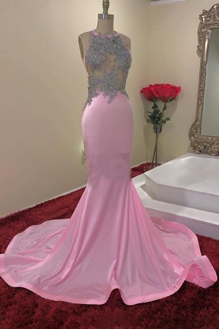 Jewel Sleeveless Appliques Sheer Pink Mermaid Prom Dresses