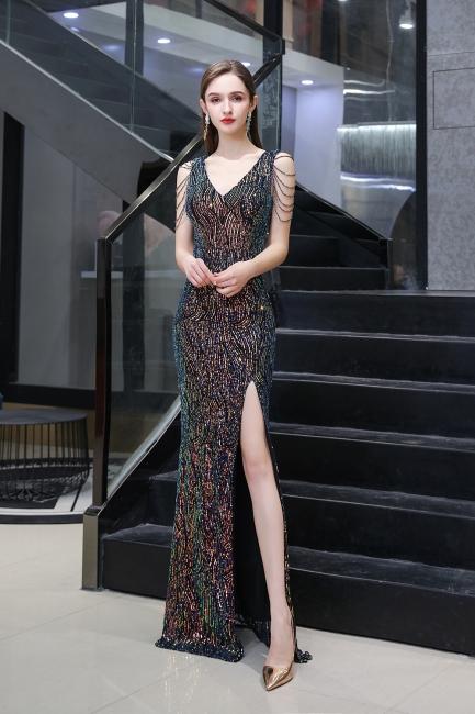 Women's Stylish V-neck Sleeveless Floor Length Thigh Slit Form-fitting Prom Dresses