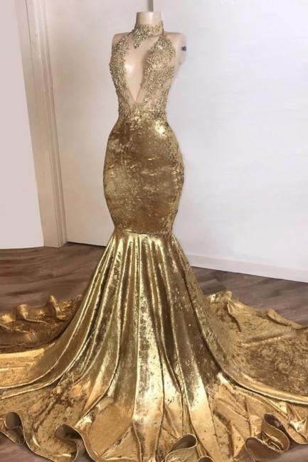 V-neck Spaghetti Straps Appliques Sexy Mermaid Velvet Prom Dresses