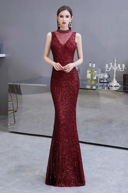 Women's Fashion High Neck Sleeveless Long Sparkly Sequin Form-fitting Prom Dresses