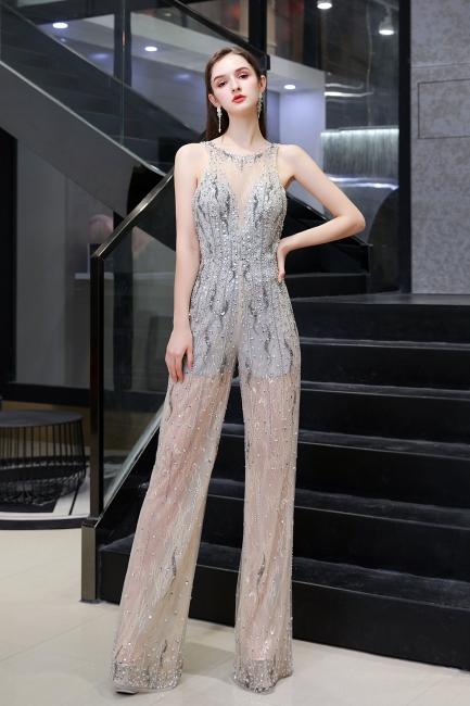Women's Stylish Round Neck Sleeveless Open Back Beaded Sparkly Prom Jumpsuit