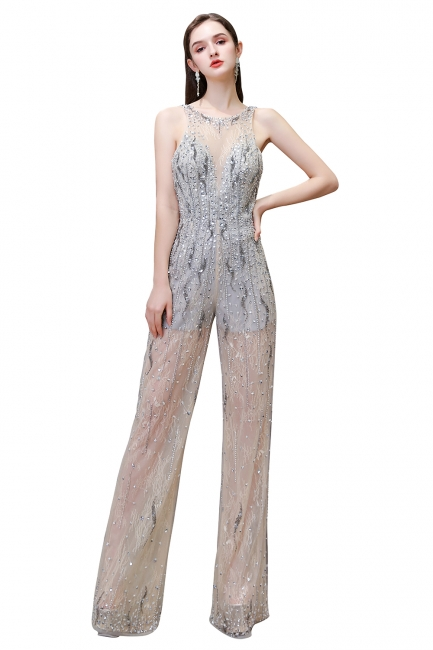 Women's Stylish Round Neck Sleeveless Open Back Beaded Sparkly Prom Jumpsuit