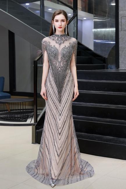 Women's Stylish High Neck Short Sleeves Sheer Beaded Sheath Glittering Prom Dresses