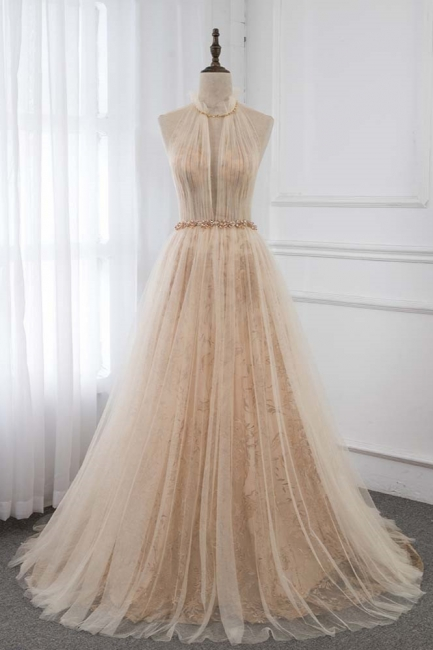Cute Halter Keywhole Sleeveless Belted A-line Tulle Prom Dresses
