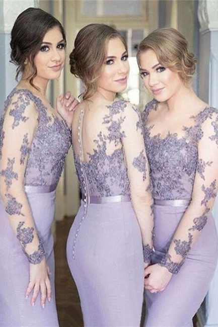 Illusion Lavender Appliques Mermaid Lace Long Sleeves Cheap Bridesmaid Dress