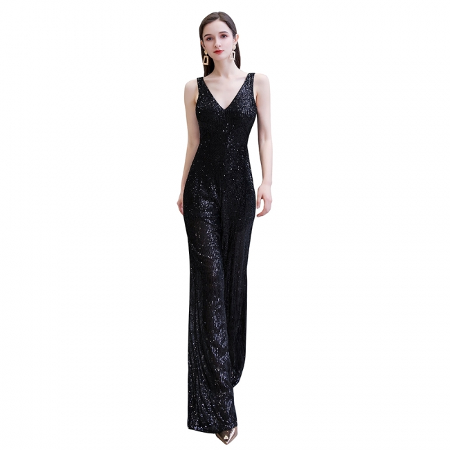 Women's Fashion V-neck Straps Sparkly Sequin Prom Jumpsuit