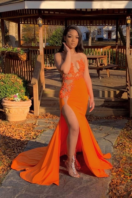 Jewel Sheer Sleeveless Appliques Orange Mermaid Prom Dresses with Side Split