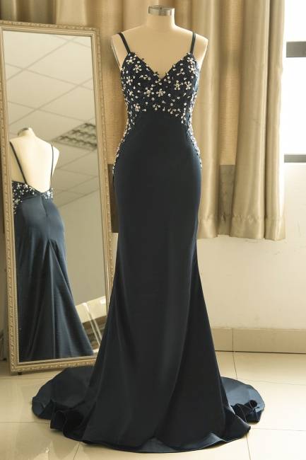 Spaghetti Straps V-neck Sexy Fitted Sleek Prom Dresses