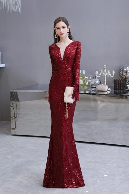 V-neck Long Sleeves Form-fitting Floor Length Burgundy Sequin Prom Dresses