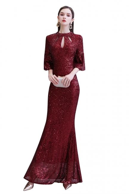 Women's Fashion Jewel Keyhole Half Sleeves Long Sequin Burgundy Prom Dresses