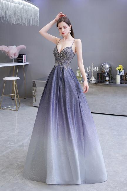Spaghetti Straps V-neck Beaded Appliques A-line Floor Length Prom Dresses