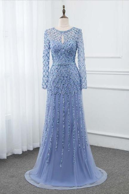 Jewel Keyhole Long Sleeves A-line Light Blue Prom Dresses with Beads