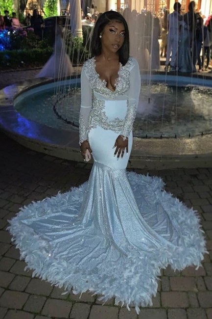 V-neck Appliques Mermaid Feather Prom Dresses with Train with Long Sleeves